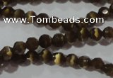 CCT320 15 inches 4mm faceted round cats eye beads wholesale