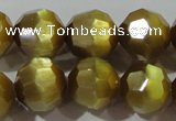 CCT394 15 inches 10mm faceted round cats eye beads wholesale