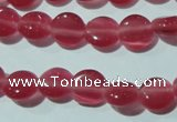 CCT453 15 inches 6mm flat round cats eye beads wholesale