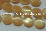 CCT456 15 inches 6mm flat round cats eye beads wholesale