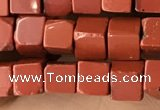CCU456 15.5 inches 4*4mm cube red jasper beads wholesale