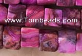 CCU485 15.5 inches 6*6mm cube fuchsia crazy lace agate beads
