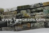 CCU521 15.5 inches 4*13mm cuboid moss agate beads wholesale