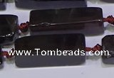 CCU607 15.5 inches 8*20mm - 10*30mm cuboid smoky quartz beads