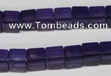 CCU61 15.5 inches 8*8mm cube synthetic amethyst beads wholesale