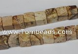 CCU65 15.5 inches 8*8mm cube picture jasper beads wholesale