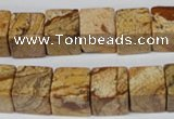 CCU80 15.5 inches 12*12mm cube picture jasper beads wholesale