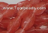 CCY01 15.5 inches 12*22mm faceted rice cherry quartz beads wholesale