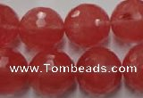 CCY116 15.5 inches 16mm faceted round cherry quartz beads wholesale