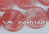 CCY154 15.5 inches 25mm flat round cherry quartz beads wholesale