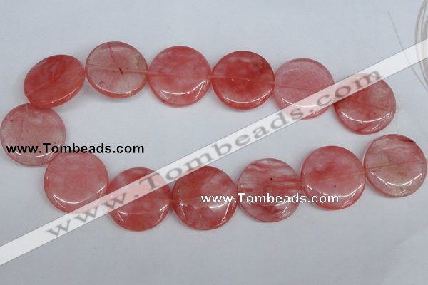 CCY155 15.5 inches 30mm flat round cherry quartz beads wholesale