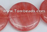 CCY156 15.5 inches 35mm flat round cherry quartz beads wholesale