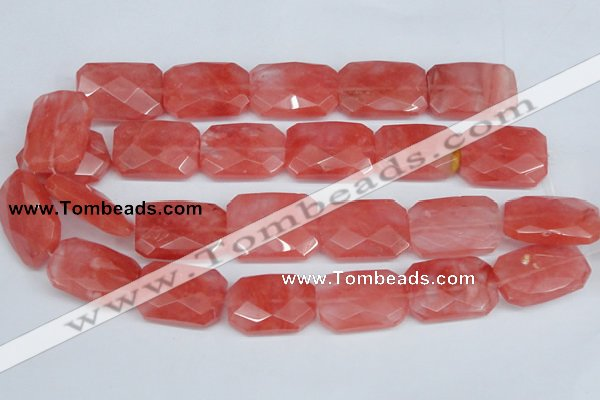CCY166 15.5 inches 20*30mm faceted rectangle cherry quartz beads