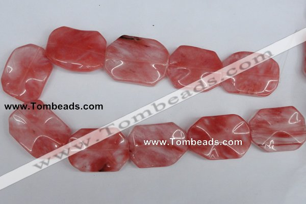 CCY167 15.5 inches 30*40mm wavy rectangle cherry quartz beads