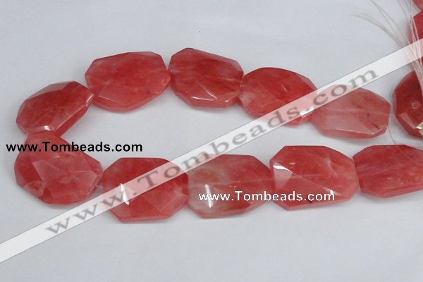 CCY169 15.5 inches 30*40mm twisted & faceted rectangle cherry quartz beads