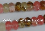 CCY206 15.5 inches 8*12mm faceted rondelle volcano cherry quartz beads