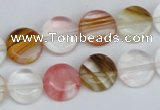 CCY213 15.5 inches 12mm flat round volcano cherry quartz beads