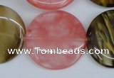 CCY214 15.5 inches 30mm flat round volcano cherry quartz beads