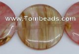 CCY215 15.5 inches 40mm flat round volcano cherry quartz beads