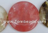 CCY216 15.5 inches 45mm flat round volcano cherry quartz beads