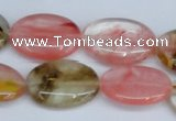 CCY219 15.5 inches 18*25mm oval volcano cherry quartz beads