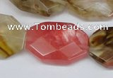 CCY231 15.5 inches 20*30mm faceted octagonal volcano cherry quartz beads