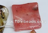 CCY236 Top-drilled 50*50mm wavy diamond volcano cherry quartz beads