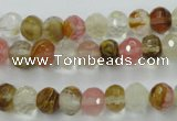 CCY401 15.5 inches 6*8mm faceted rondelle volcano cherry quartz beads