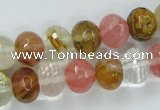 CCY403 15.5 inches 9*12mm faceted rondelle volcano cherry quartz beads