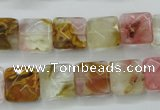 CCY424 15.5 inches 12*12mm faceted square volcano cherry quartz beads