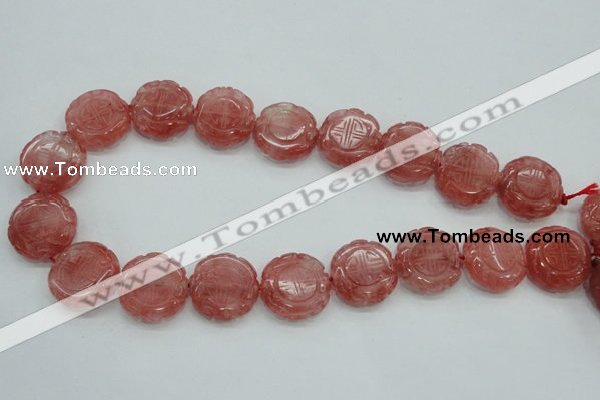 CCY52 15.5 inches 20mm carved coin cherry quartz beads wholesale