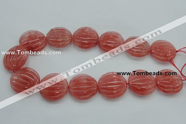 CCY54 15.5 inches 30mm flat round cherry quartz beads wholesale