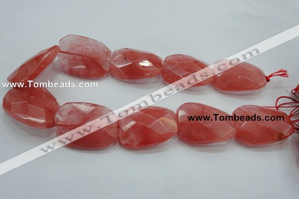 CCY55 15.5 inches 30*40mm twisted & faceted rectangle cherry quartz beads