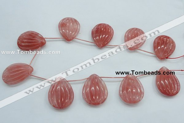 CCY57 30*40mm top-drilled teardrop cherry quartz beads wholesale