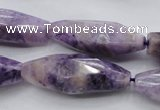 CDA335 15.5 inches 14*35mm faceted rice dyed dogtooth amethyst beads