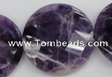 CDA44 15.5 inches 32mm faceted coin dogtooth amethyst beads