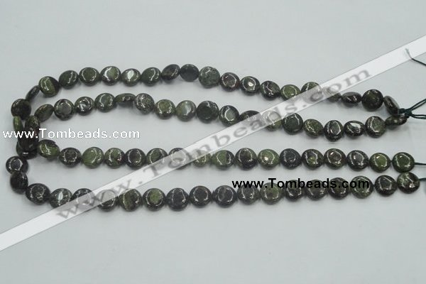 CDB205 15.5 inches 10mm flat round natural dragon blood jasper beads