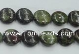 CDB206 15.5 inches 12mm flat round natural dragon blood jasper beads