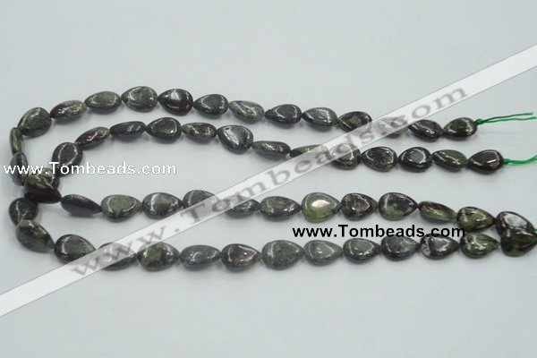 CDB215 15.5 inches 10*14mm flat teardrop natural dragon blood jasper beads