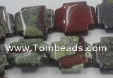 CDB224 15.5 inches 20*20mm cross natural dragon blood jasper beads