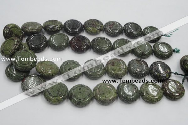 CDB226 15.5 inches 25mm carved coin natural dragon blood jasper beads