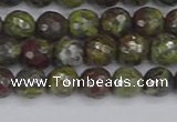 CDB321 15.5 inches 6mm faceted round dragon blood jasper beads
