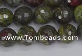 CDB323 15.5 inches 10mm faceted round dragon blood jasper beads