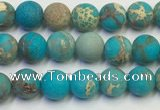 CDE1025 15.5 inches 4mm round matte sea sediment jasper beads