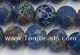 CDE1042 15.5 inches 8mm round matte sea sediment jasper beads
