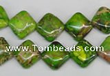 CDE122 15.5 inches 12*12mm diamond dyed sea sediment jasper beads