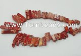 CDE1501 Top drilled 8*20mm - 10*55mm sticks sea sediment jasper beads