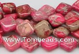 CDE16 15.5 inches 10*10mm diamond dyed sea sediment jasper beads