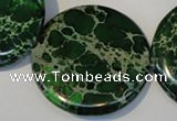 CDE177 15.5 inches 35mm flat round dyed sea sediment jasper beads