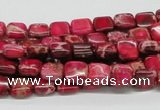 CDE19 15.5 inches 8*8mm square dyed sea sediment jasper beads